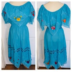 Vintage Turquoise Mexican Dress.  Size XL